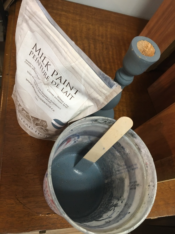 Authentic milkpaint comes in a powder form that you mix with water. Anything pre-mixed is not actual milk-paint, and usually cotains latex and other chemical fillers..